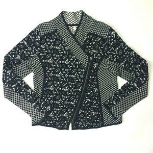 MOTH Anthropologie L? Jacquard Moto Sweater Jacket